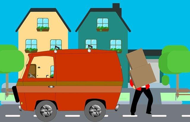 dessin d'une déménageur en plein travail
